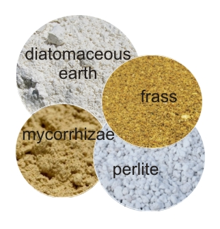 Perlite, diatomaceous earth, insect frass, mycorrhizae
